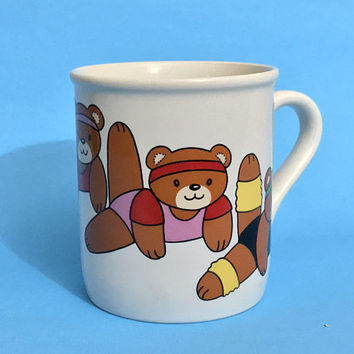 Vintage Cartoon Bears Coffee Mug / Cute Rainbow Novelty Coffee Cup / 80s Teddy Bear Gym Workout Design / Fun Retro Gifts / Y CHINA JAPAN Mug
