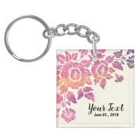 Pink Watercolor Floral customize Acrylic Keychain