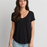 AEO Soft & Sexy Tomgirl T-Shirt , Burgundy | American Eagle Outfitters