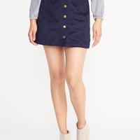 Sueded Snap-Front Mini for Women | Old Navy