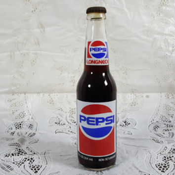 Vintage Pepsi Longneck 12 Ounce Glass Bottle (Full)