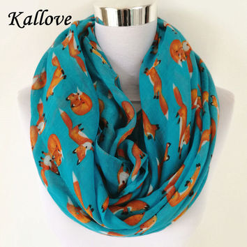 New Fashion Fox Infinity Scarf Animal Scarf Small Fox Scarves in Beige Grey Loop Scarf Fox in Tan Shawls