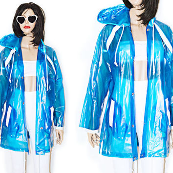 90s Clear PVC Blue Jacket Coat Raincoat Sporty Club Unisex Oversized XXL