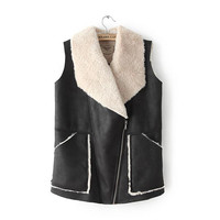Suede Fur Collar Sleeveless Vest Coat