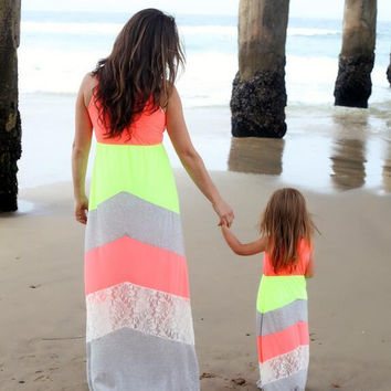 Mommy and Me Chervon Lace Matching maxi dresses