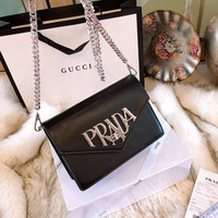 PRADA Leather Crossbody Shoulder Bag