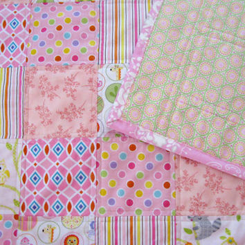 Baby Quilt, Baby Girl Quilt in modern cotton and flannel pink fabrics