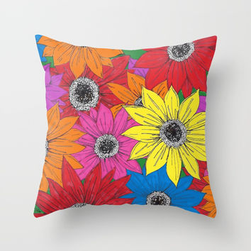 Sunflowers Throw Pillow by JustV