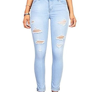 Denim Women's Juniors Distressed Slim Fit Stretchy Skinny Jeans