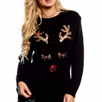 Sequined Reindeer Face Black Christmas Sweater