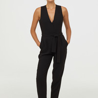 Jumpsuit with Tie Belt - Black - Ladies | H&M US