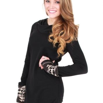 In Your Arms Black Aztec Hooded Tunic | Monday Dress Boutique