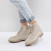 Timberland 6 Inch Premium Taupe Suede Flat Boots at asos.com