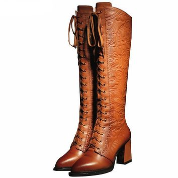 Embossed Genuine Leather Women's Lace Up Boots
