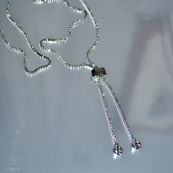 Sparkle Bright CZ Rhinestone Silver Tennis Necklace Lariat-Silver