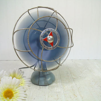 Vintage Two Tone Blue Chicago Electric Handy Breeze Working Electric Fan - Retro Silex Steel Aircraft Industrial Design with Cast Iron Base