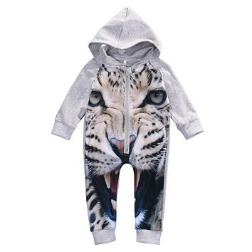 Baby Boys Girls Cotton Rompers Newborn Baby Leopard Long Sleeve Romper  New Zipper Hooded Jumpsuit For Newborns
