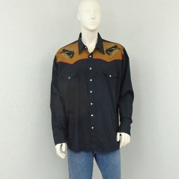 Vintage 90s High Noon Black Embroidered Western Shirt, Cowboy Shirt, Pearl Snap Shirt, Rodeo Shirt, Country Western Wear Size XL