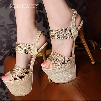 Rhinestone Open Toe Platform Stiletto High Heels Sandals Club Shoes