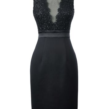 Black Bodycon Cocktail Dresses Knee Length Sexy Formal Occasion Party Gown Robe Cocktail Dress 2018 Short Prom Dresses Summer
