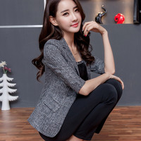 Summer Autumn Women Blazer 2016 Elegant Office Ladies Slim Cotton Linen Blazers Coat Plus Size Single Button Grey Blue Blazer
