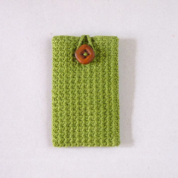 Olive green crochet fabric cell phone/ iphone case - fully lined, for men