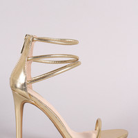 Anne Michelle Triple Ankle Strap Single Sole Heel