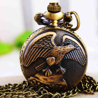 1PC Antique Bronze Pocket Watch Necklace Chain Pendant Long !ONS = 4482792644
