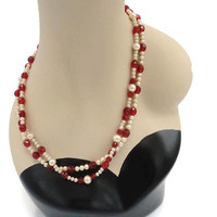 Art Deco Long Flapper Necklace White Pearl Pearlized And Faceted Red Glass Beads