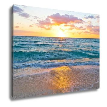 Gallery Wrapped Canvas, Sunrise And Ocean Golden Wave On Miami Beach Floridus
