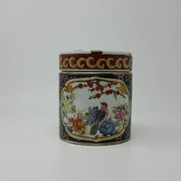 Vintage Chinese Tea Canister Famille Rose Design
