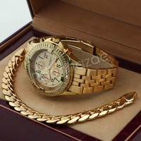 Men 14K Gold PT Round Bezel Metal Band Watch 10mm Gold Miami Cuban Bracelet H82G