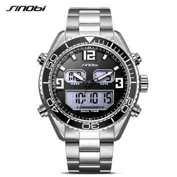 SINOBI luxury dual display waterproof LED digital sports watch men's watches