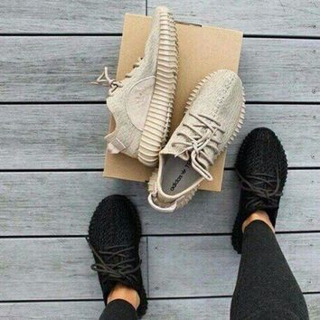 PEAPONS Fashion 'Adidas' Yeezy Boost Solid color Leisure Sports shoes Khaki