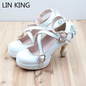 LIN KING Brand Strange Heels Lolita Shoes Cosplay Bowtie Bandage Buckle Straps Women Pumps High Heel Platform Sexy Maid Shoes