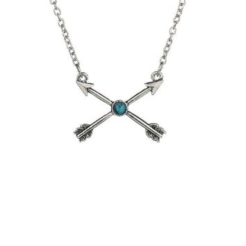 Retro Zinc Alloy Arrow Love Cross Lucky Necklace