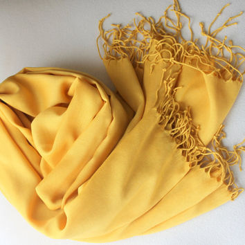 Mustard  Yellow Silky Pashmina / Tasseled Infinity Scarf / Wedding Accessories / Viscose Scarf / Ready to Shipping /