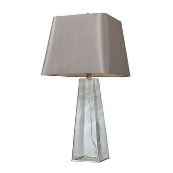 Seeded Glass Table Lamp in Clear with Light Grey Shade
