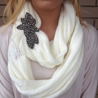 Ivory Knit Beaded Infinity Scarf - Ivory Knit Beaded Infinity Scarf