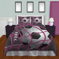 Bedding Soccer, Soccer Bedding For Girls, Teen Bedding, Purple Bedding, Personalized Duvet Cover  #13
