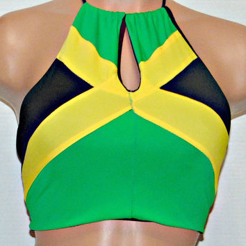 Sexy Jamaican flag High neck Key Hole halter top bikini, Independence Swimsuit, Carnival top.