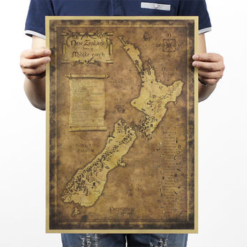 Mysterious Old Map Of New Zealand Poster 20X14