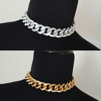 Ultra Luxe - Thick and Chunky Matte Gold OR Silver Choker Statement Necklace