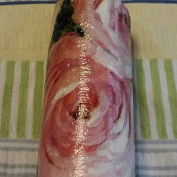Up-Cycled Hand Painted Decoupaged Cottage Chic Decorative Rolling Pin in Black Background and Rose Colored Roses
