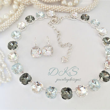 Dinner in Dubai, Swarovski Crystal Necklace,Bridal, 12MM Square Cushion Cut,Adjustable, DKSJewelrydesigns, FREE SHIPPING