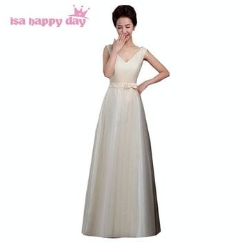plus size long tulle champagne v neck elegant bridesmaid dress brides maid party dresses ball gown for wedding guests H3495