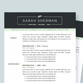 Professional Resume Template And Cover Letter For Word And Pages | CV  Template | Two Page