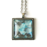 Aqua Pendant necklace hand painted glass dome in black, aqua and turquoise; jewelry with antique silver tone finish