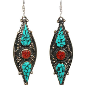 Long Coral dot turquoise Earring