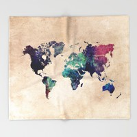 Cold World Map Throw Blanket by Jbjart | Society6